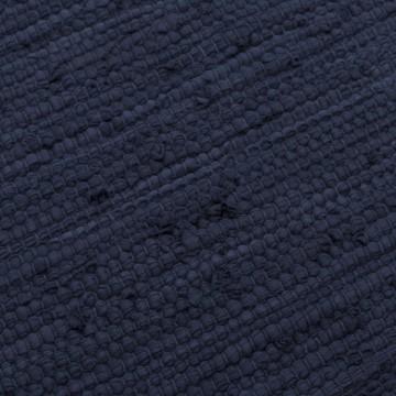 tapis bleu marine coton upcyclé