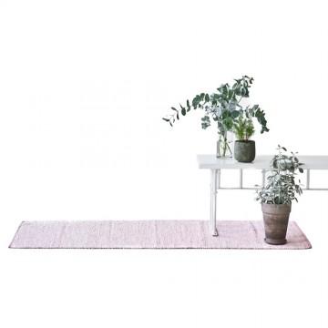 tapis coton upcyclé rose pâle